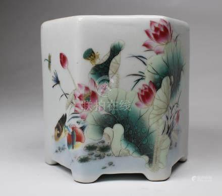 Chinese Porcelain Brush Pot, Signed