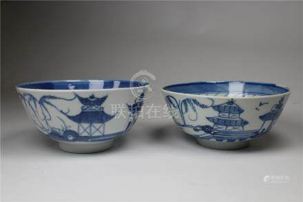 Chinese Canton Pattern Blue/White Bowls