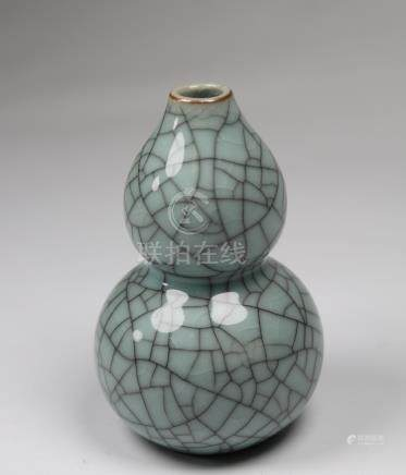 Chinese Crackleware Double Gourd Form Bud Vase