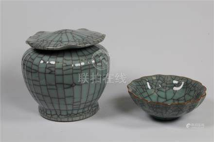 (2) Pieces, Chinese Crackleware Vessels