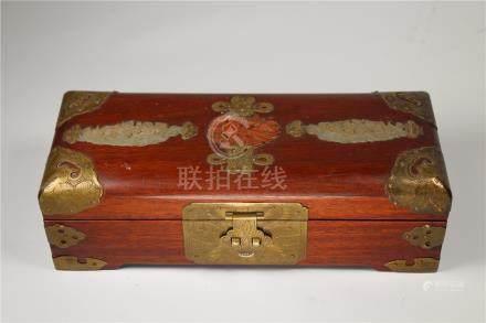 Chinese Carved Jade/Stone Inset Jewelry Box