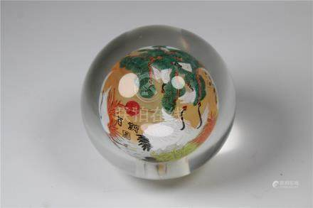 Vintage Chinese Reverse Painted Crane Paperweight