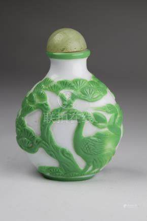 Chinese Snuff Bottle W/ Jade Stopper