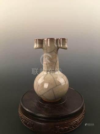 Chinese Guan--Type Porcelain Tubular Handle Vase