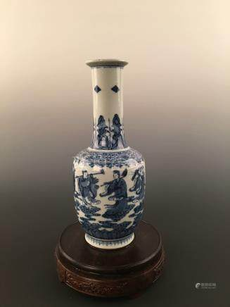 Chinese Blue & White Immortals Porcelain Vase With Kangxi Mark