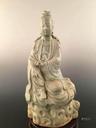 Chinese Longquan Ware Celadon Porcelain Guanyin Buddha Statue