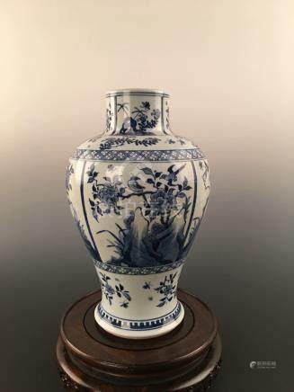 Chinese Blue & White Flower&Bird Porcelain Vase With Kangxi Mark