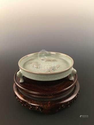 Chinese Longquan Ware Celadon Porcelain Tri-Fish Brush Washer