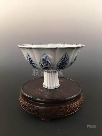 Chinese Blue & White Flower-Shaped Porcelain Stem Bowl With Xuangde Mark