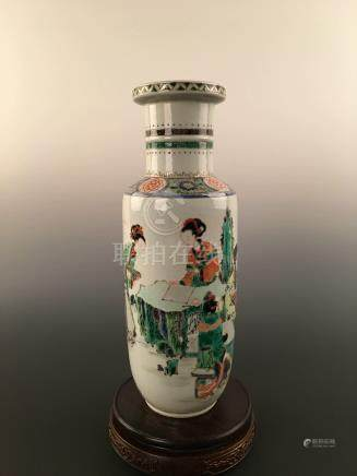 A Chinese Wucai Maidens Porcelain Bangchuiping Vase