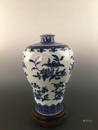 Chinese Blue & White Flower&Fruits Porcelain Meiping Vase