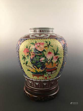Chinese Famille Rose Porcelain Jar With Cloisonne Windows Of Fruits