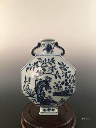 Chinese Octagon Flat Porcelain Pot Decorated With Blue & White Flower