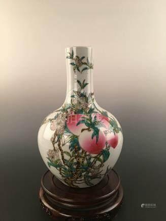 Chinese Famille Rose Porcelain Globular Vase Of Nine Peachs