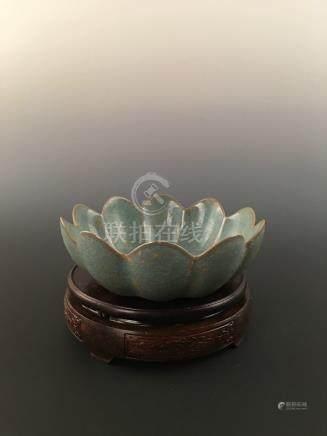 Chinese Ru--Type Porcelain Lotus Shaped Bowl