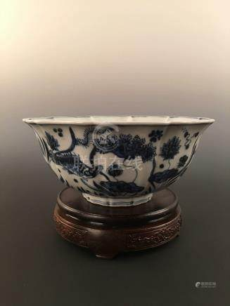 Chinese Blue&White Fish &Algae Pattern Decorated Sunflower Shaped Ceramic Bowl With Xuande's Mark