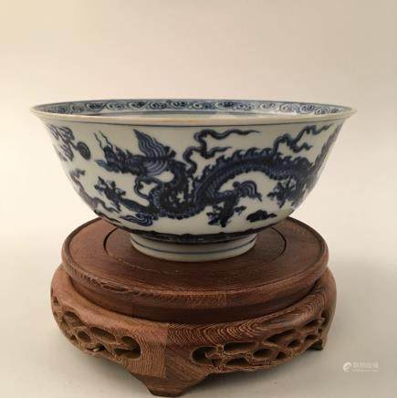 Chinese Blue &White Dragon Bowl With Xuan De Mark