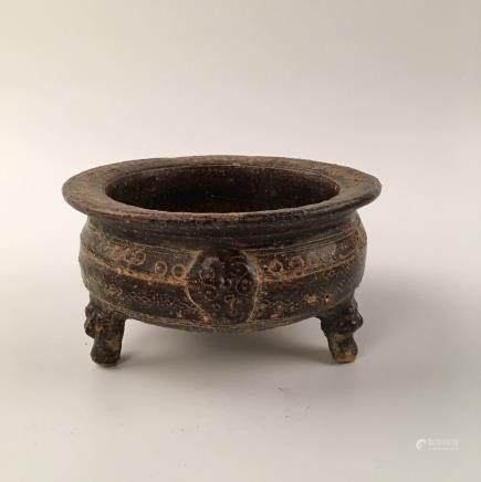 Chinese Celadon Glazed Carved Stoneware Censer