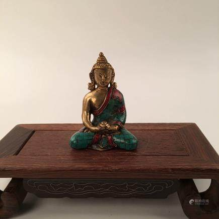 Chinese Gilt Over Bronze Sitting Statue Of  Buddha