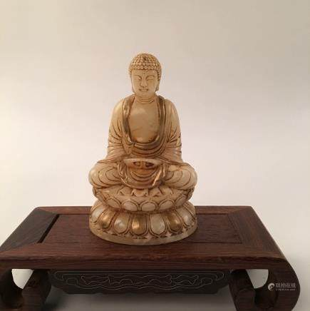 Chinese Gilt Over Jade Sitting Statue Of  Buddha