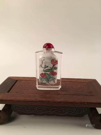 Chinese Inside-Painted Glass Snuff Bottle With Grass & Insect