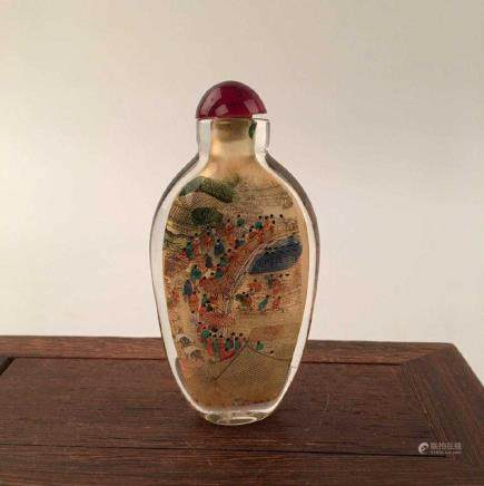 Chinese Inside-Painted Glass Snuff Bottle With Street Scene