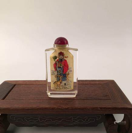 Chinese Inside-Painted Glass Snuff Bottle With Lu's Figure