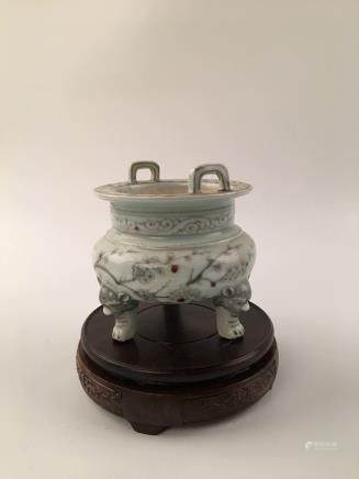 Chinese Copper-Red Porcelain Li-Shape Censer