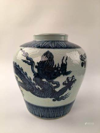 Chinese Blue & White Dragon Jar