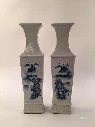 Chinese Blue & White Landscape Square Vase Pair