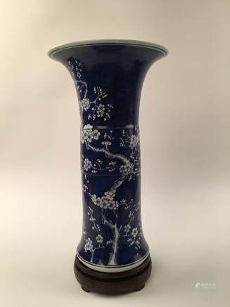 Chinese Blue & White Plum Pattern Gu Vase