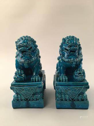 Chinese Peacock Blue Glazed Foodog Pair