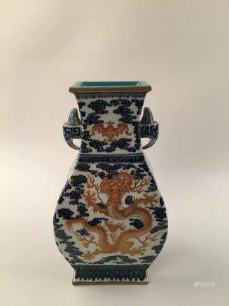 Chinese Blue &White Red Dragon &Phoenix Square Vase