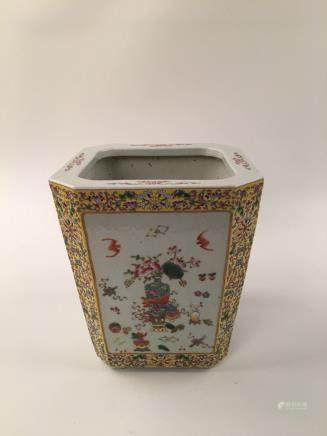 Chinese Famille Rose Yellow Ground Square Plantpot