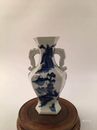 Chinese Blue & White Landscape Vase
