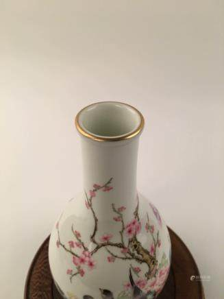 Chinese Famille Rose Flower &Bird Yuhuchun Vase With Qian Long Mark