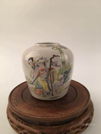 "Chinese Famille Rose Immortal's Figure Jar With ""Guan"" Mark"