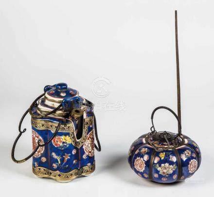 Set bestehend aus Kanne und Opium-/Wasser-PfeifeChina, 19./20. Jahrhundert Polychrom staffiertes