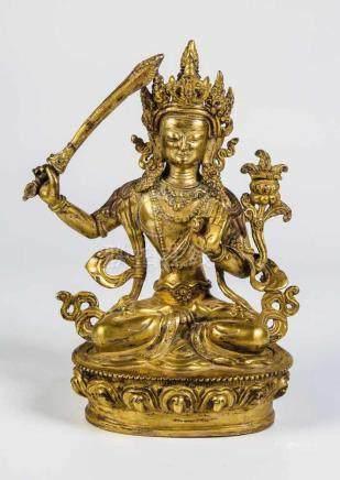 ManjushriTibet/Nepal, 19. Jahrhundert Sitzender Bodhisattva in der Rechten das Schwert der