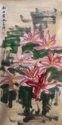 Huang Yongyu Umkreis1924 Fenghuang/China Stillleben mit rosa Blüten. Tusche auf Papier als