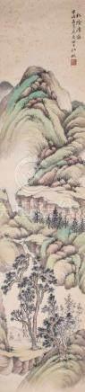 Wang Yanan1881 - 1932 Bergige, polychrome Landschaft mit zwei Figuren. Partiell stockfleckig. 165 cm