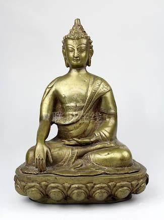 Buddhafigur aus Messingguss, Thailand Mitte 20. Jh., Buddha auf Lotusthron in Meditationshaltung