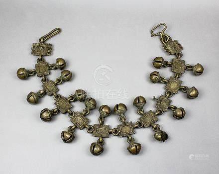 Schwere Bronzekette mit Glocken, wohl Tierschmuck aus Indien, Bronze in der verlorenen Form