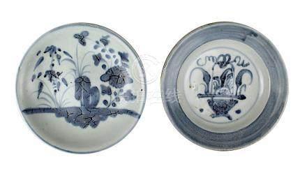 2 kleine Teller, Tek Sing, China 1. Drittel 19. Jh., Porzellan heller Scherben, Unterglasurmalerei