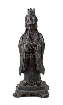 Wenchang Wang (Gott der Kultur und des Schrifttums), China, Ming-Dynastie, stehende Figur aus dunkel
