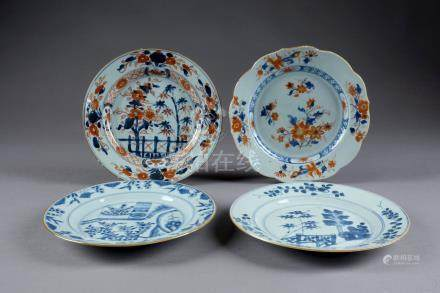 Quatre Assiettes. Porcelaine de Chine d'exportation à décor floral dans la pale