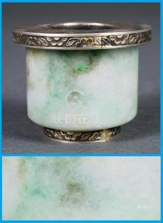 BAGUE / ANNEAU D'ARCHER EN JADE JADEITE Chine, Fin de la Dynastie Qing Une pier