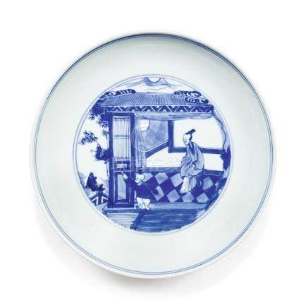 清雍正 青花人物圖盤《大清雍正年製》款