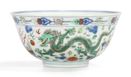 清道光 五彩龍鳳戲珠紋盌《大清道光年製》款