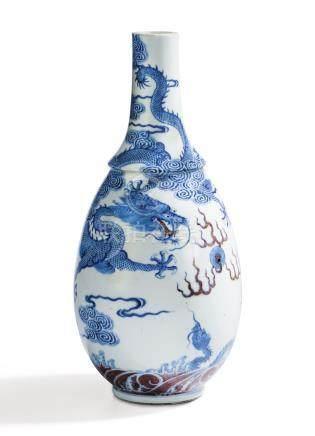 清康熙 青花釉裡紅雲龍戲珠紋膽瓶